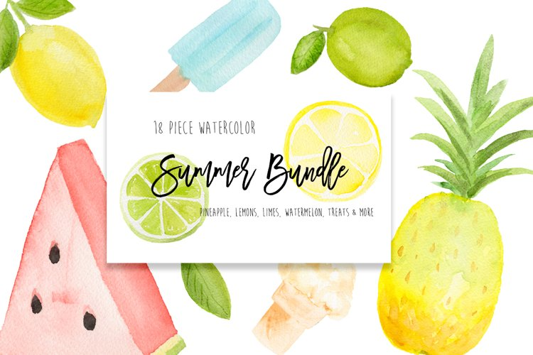 Summer Fruit Clip Art lemons, watermelon, pineapple