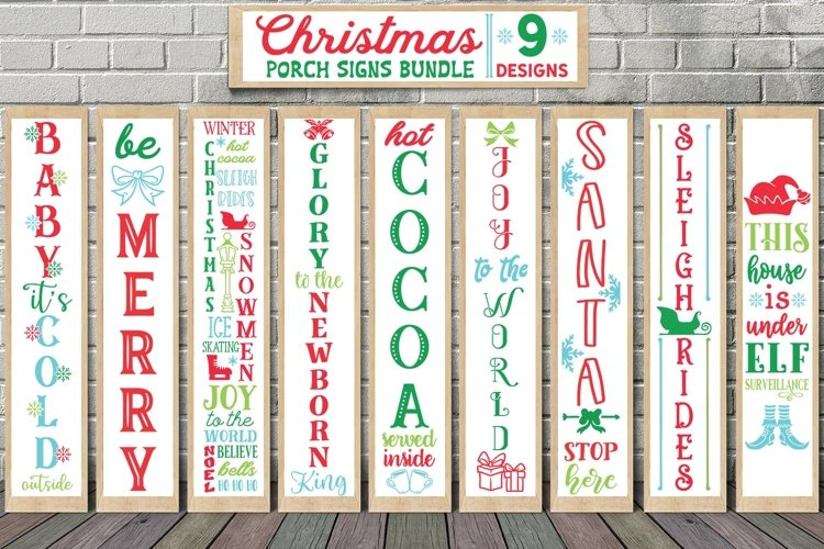 Christmas Porch Signs Bundle 9 Designs SVG PNG Christmas example image 1
