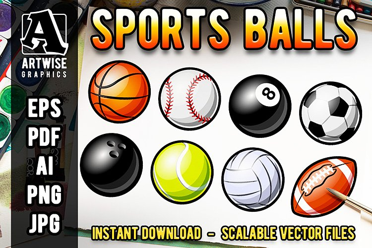 Set of Sports Balls Vector and Transparent Bitmap Files