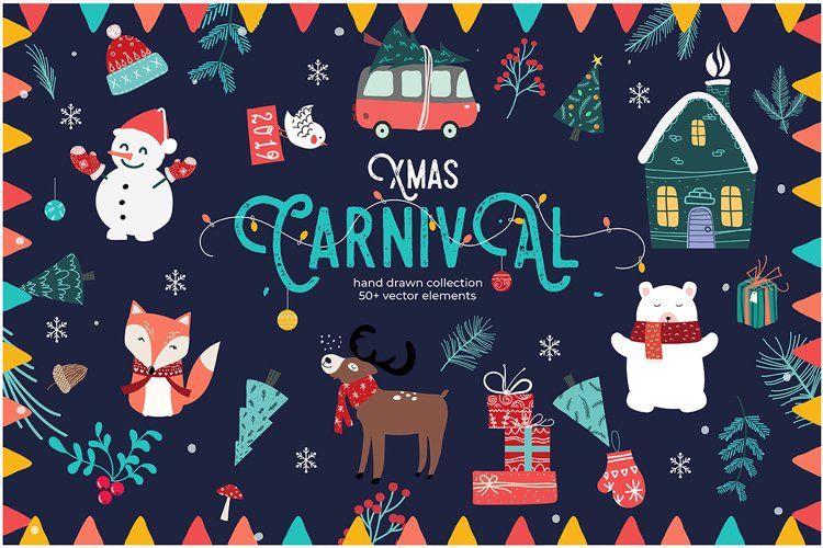 Xmas Carnival, Hand drawn Graphics