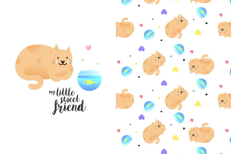 Cute kitty illustration with pattern example image 1
