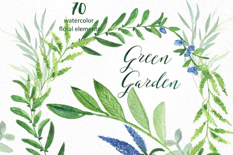 Green garden. Watercolor collection. example image 1