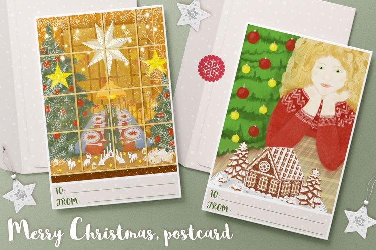 Christmas cards with gingerbread house and decorated store