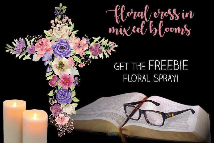 Watercolor floral cross in rainbow shades