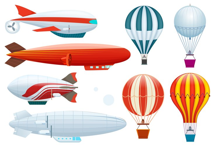 Hot air balloon isolated vector set example image 1