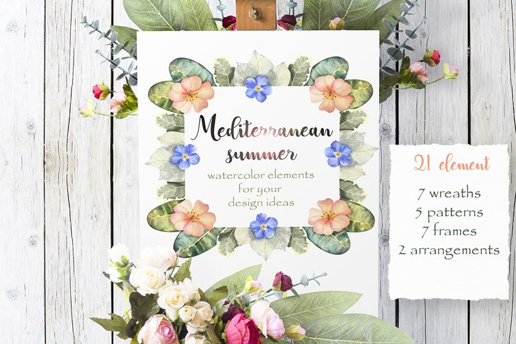 Mediterranean summer Watercolor flowers, patterns, frames