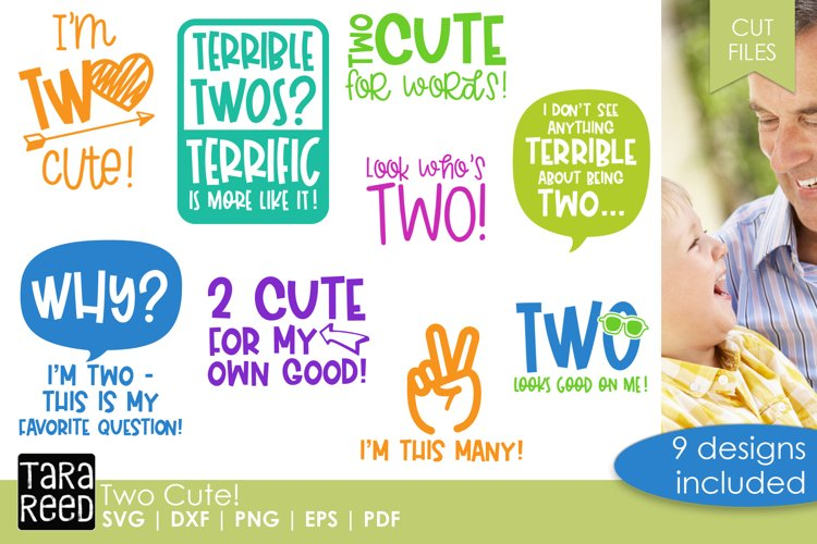 Two Cute! - Two Year Old SVG and Cut Files for Crafters