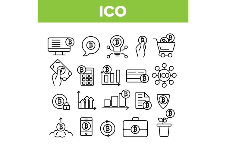 ICO, Bitcoin Vector Thin Line Icons Set example image 1