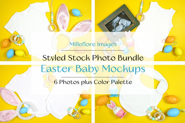 Easter Baby Bodysuit Bib Styled Stock Photo Mockup Bundle