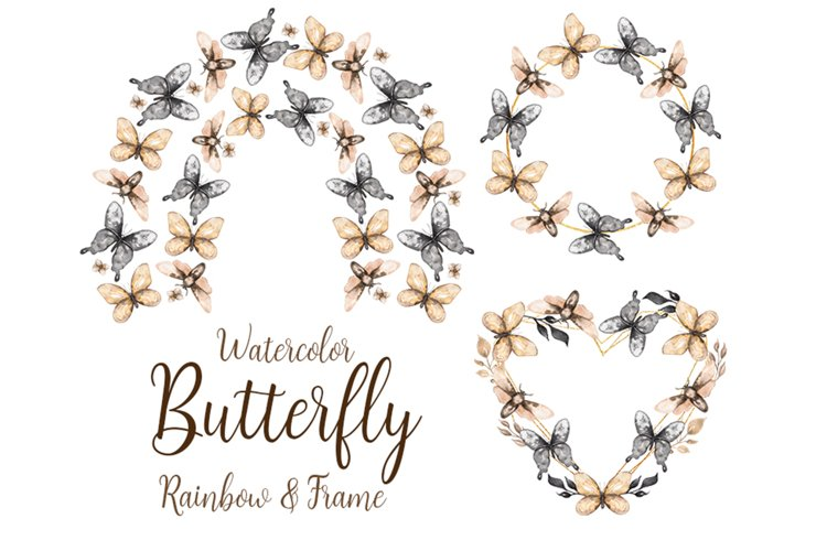 Watercolor Butterfly Rainbow and Frame clipart example image 1