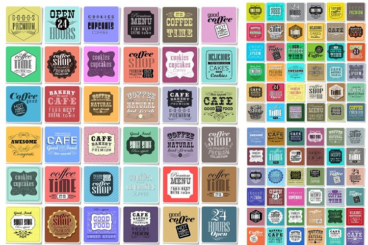 Retro Coffee Labels set example image 1