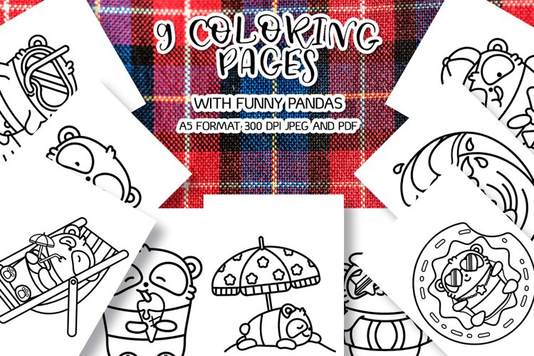 9 coloring pages with funny pandas bundle