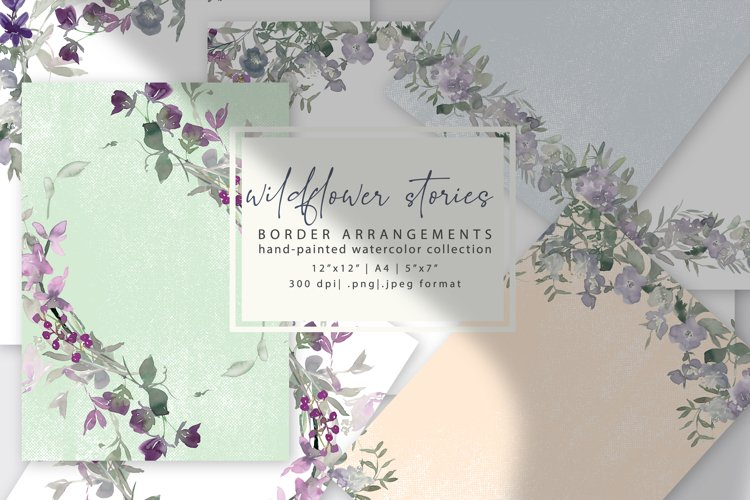 Watercolor Wildflower Clipart Pre-made Backgrounds