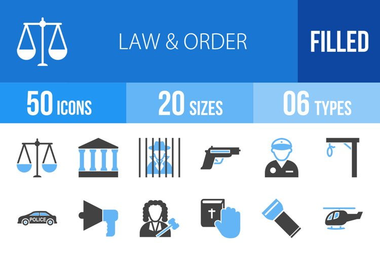 50 Law & Order Filled Blue & Black Icons example image 1