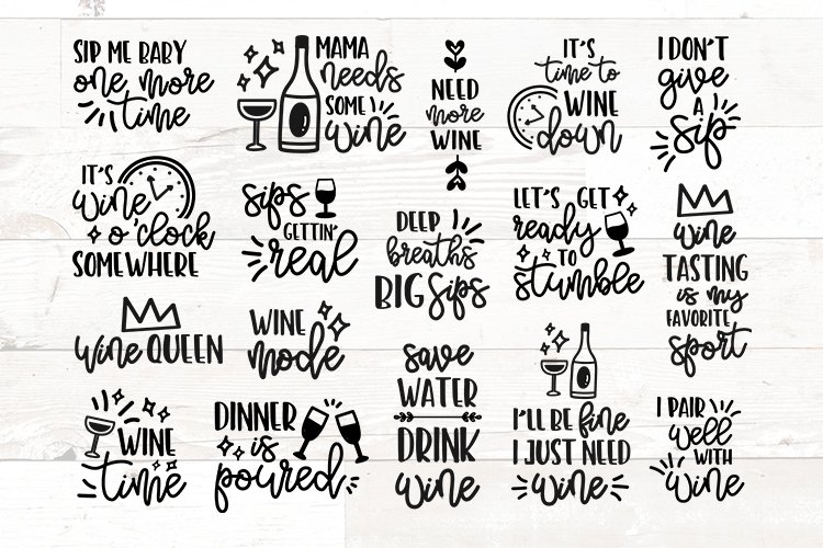 Wine Glass Sayings SVG Bundle Wine Quotes example image 1