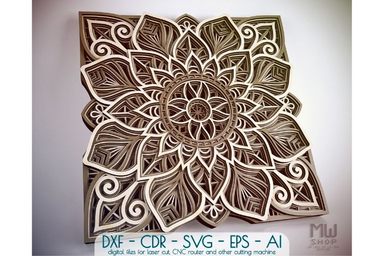 M96 - Flower Mandala DXF, Layered Mandala SVG for Cricut