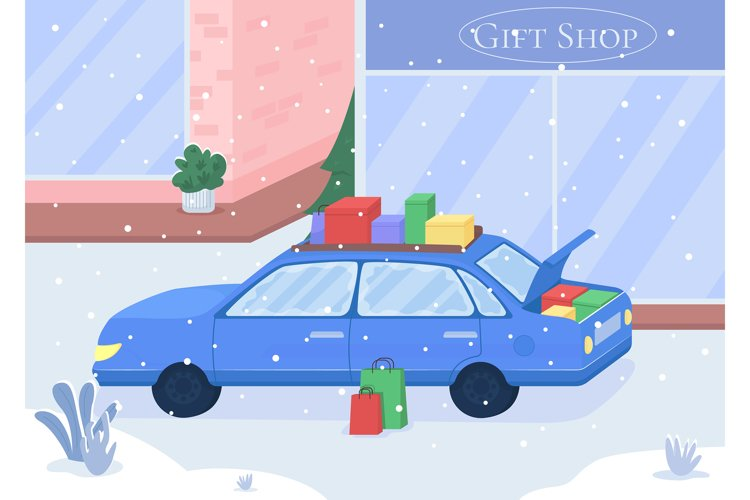 Auto with purchased gifts flat color vector illustration example image 1