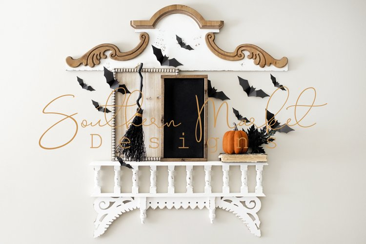 Halloween Fall Wood Framed Sign 8x16 Mock Up Stock Photo example image 1