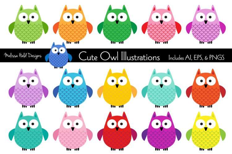 Cute Owl Illustrations example image 1