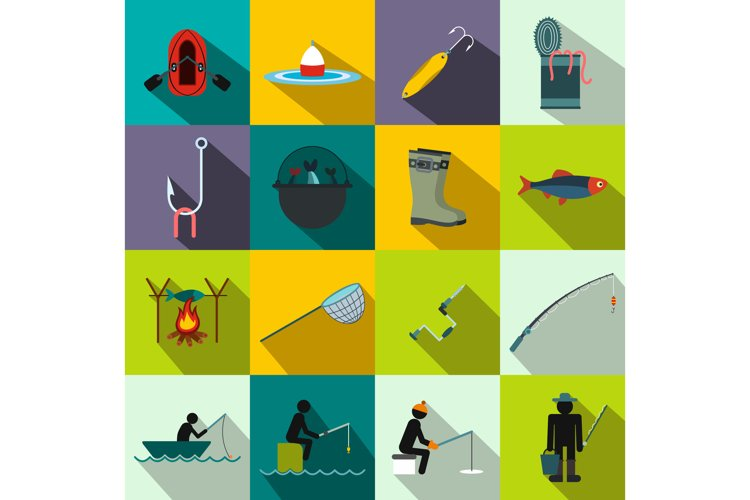 Fishing flat icons set example image 1