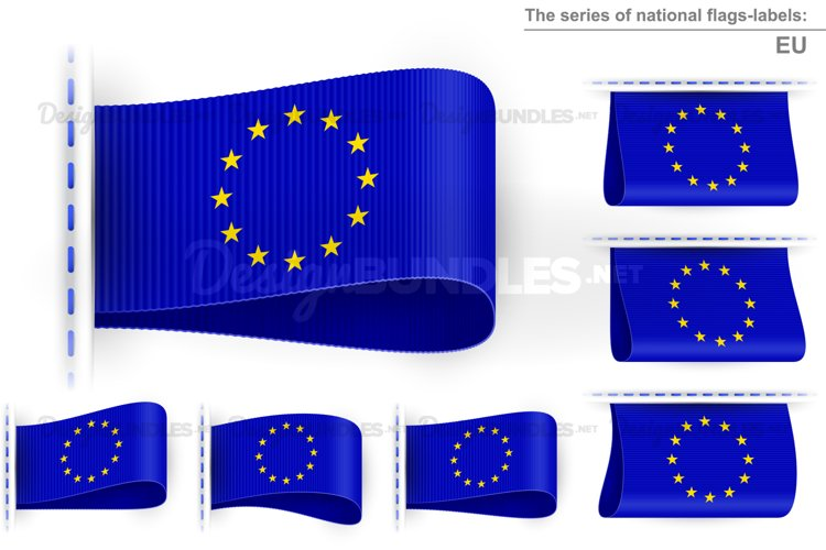 Vector EU Flag Tag Clothes Label Sticker Sewn Set Blue