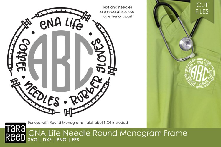 CNA Needle Round Monogram Frame - Nursing SVG & Cut Files