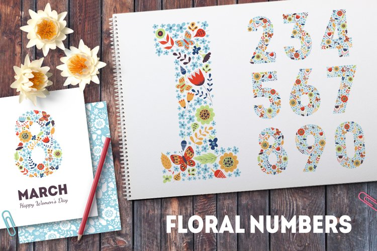Floral spring numbers collection