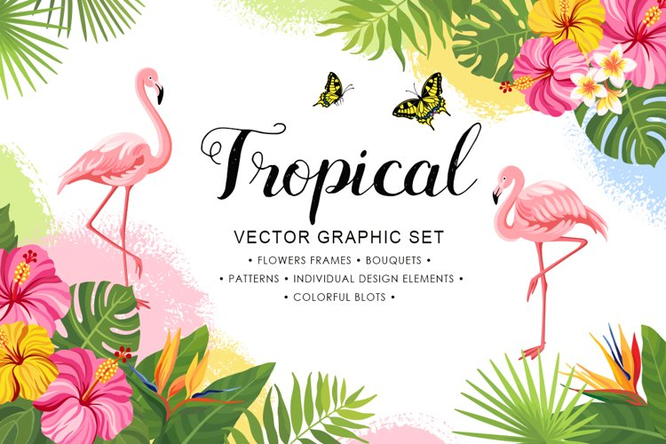 Tropical vector graphic set example image 1