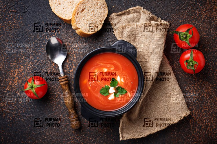 Tomato soup gazpacho in stewpan example image 1