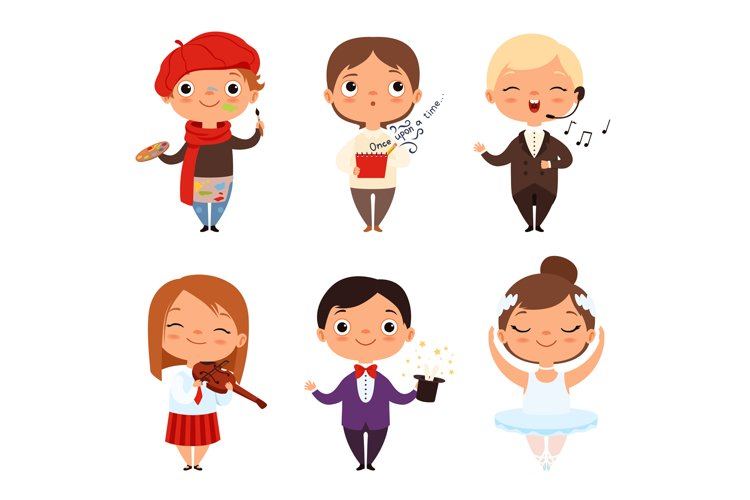 Cartoon illustrations of various creative kids. Different pr