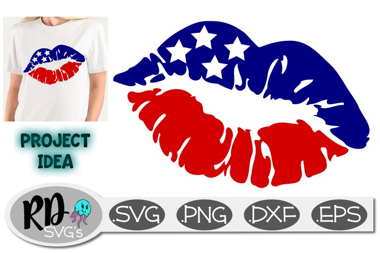 Red White and Blue Lips - A 4th of July Cricut Cut File example image 1
