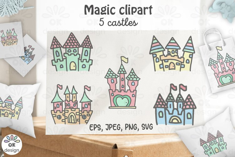 Castle clipart. Baby shower clipart, magic unicorn graphics.