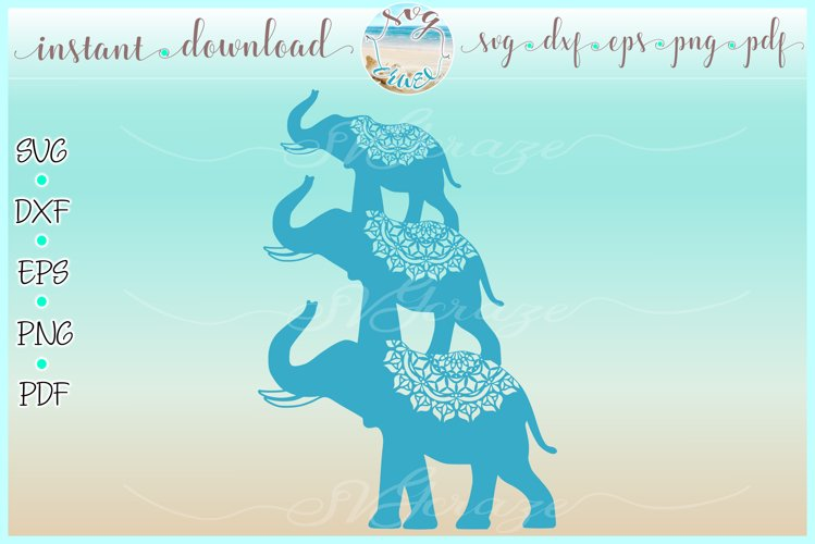 Elephant Trio Stacked SVG Dxf Eps Png PDF Files example image 1