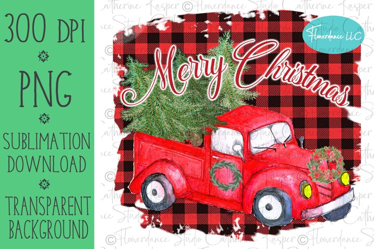 Red Farm Truck Christmas PNG Sublimation Design, Printable example image 1
