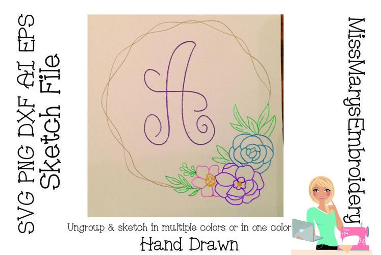 Sketch Flower Wreath | Foil Quill SVG | Sketch File SVG