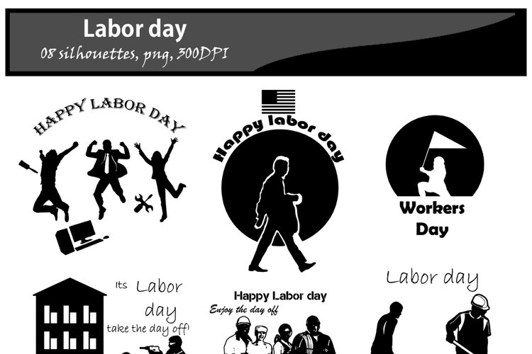 Labor day silhouette / printable labor day silhouette / vector graphics labor day / DIY cut / craft work / building / computer silhouette example image 1