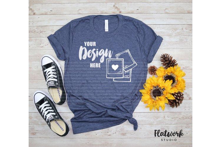 Fall Mockup | Bella Canvas 3001 cvc T-shirt | Heather Navy example image 1