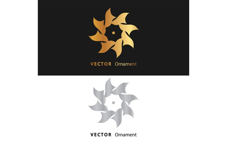 vector illustration mandala. Golden floral pattern example image 1