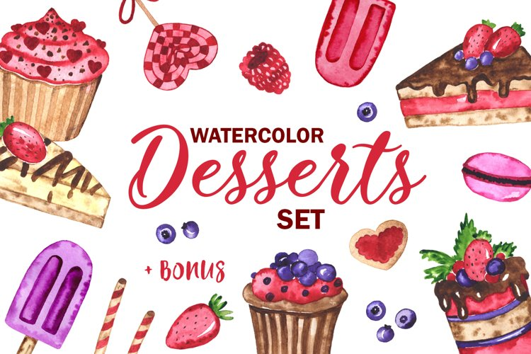 Desserts. Watercolor set. Clipart example image 1