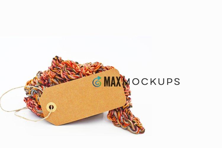 Hang tag background Mockup, yarn crafts, styled backdrop