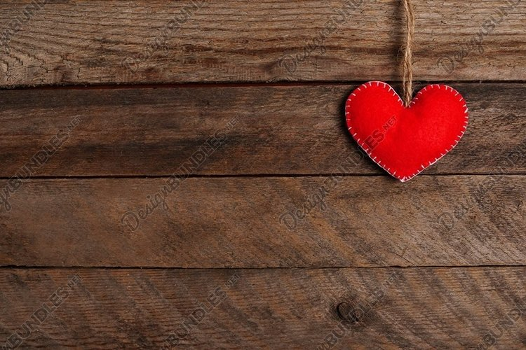 Valentines Day background with red heart. wooden table example image 1