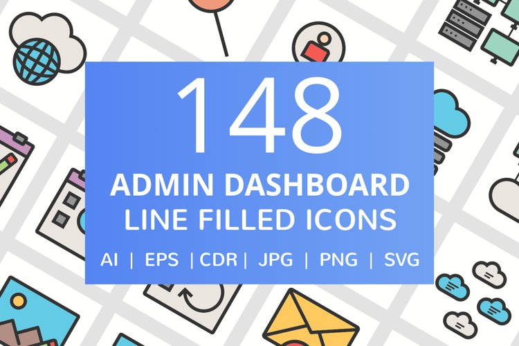 148 Admin Dashboard Filled Line Icons example image 1