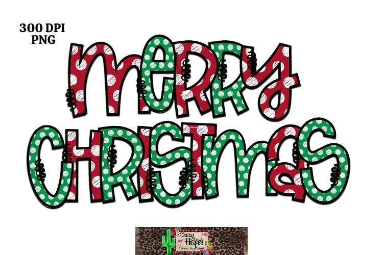 Merry Christmas Hand Drawn Lettering Dye Sublimation example image 1