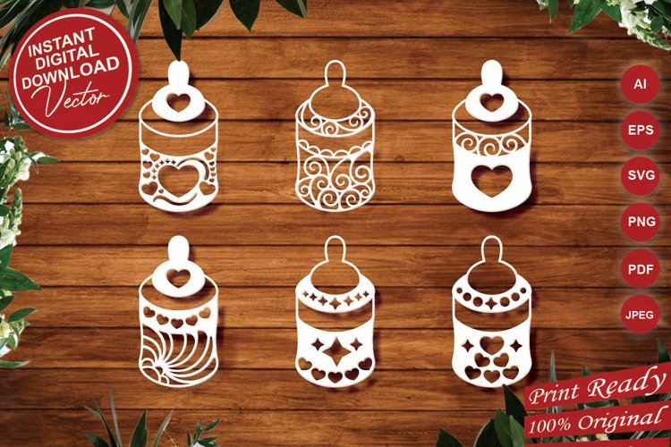 Papercut Cute Baby Feeders with Decorations Set example image 1
