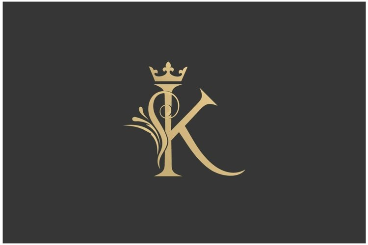 Elegant gold letter K with crown logo design inspiration