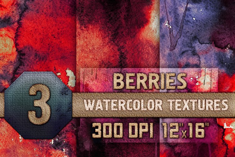 3 Berries Watercolor Texture Digital Papers, Backrgounds HQ example image 1