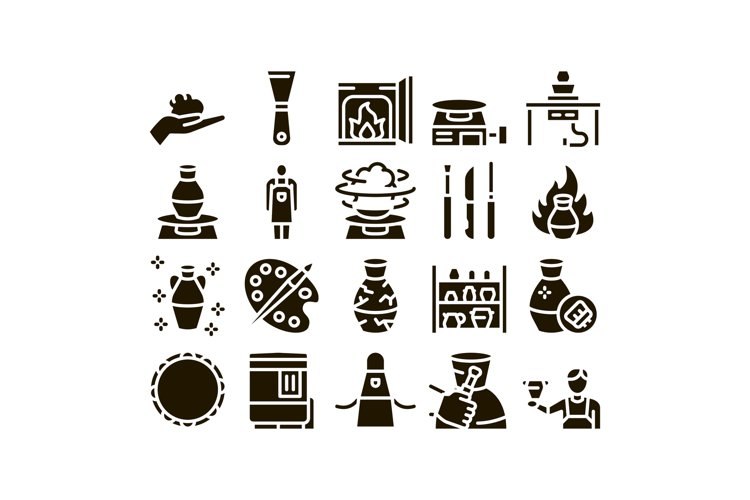 Pottery And Ceramics Glyph Set Vector example image 1