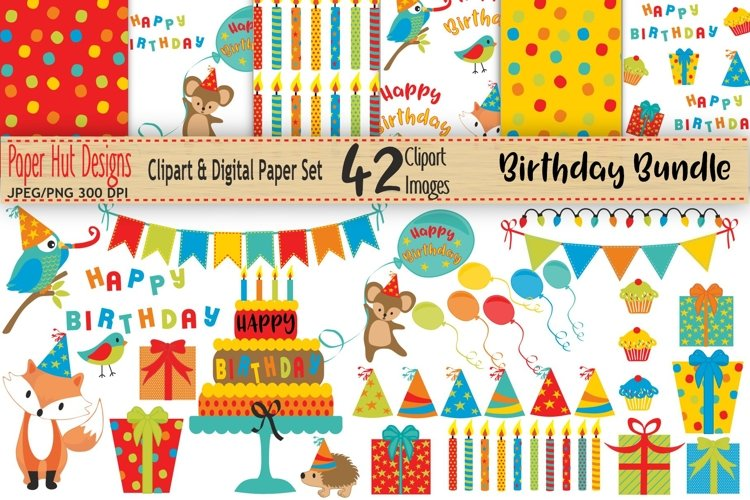 Birthday Clipart and Digital Papers Bundle example image 1