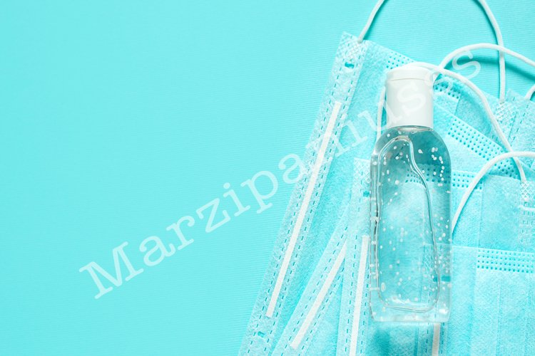 Protective mask, sanitizer and gloves. COVID-19 protection example image 1