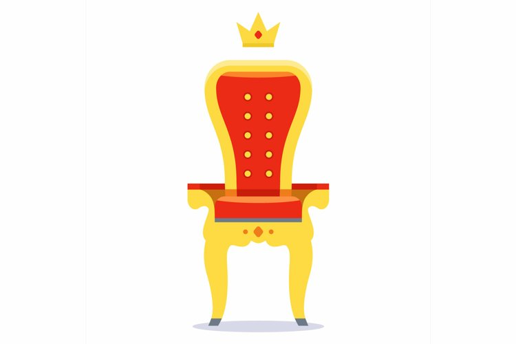 royal throne of gold and red velvet on a white background.
